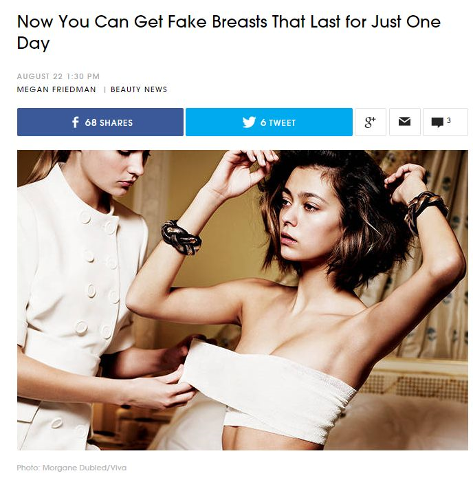 Now you can get fake breast that last for just one day