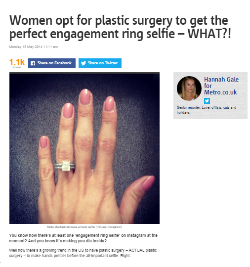 Women opt for plastic surgery to get the perfect engagement ring selfie-what
